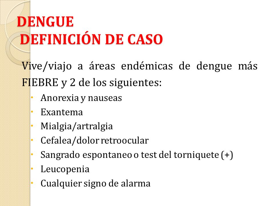 DENGUE DEFINICIÓN DE CASO