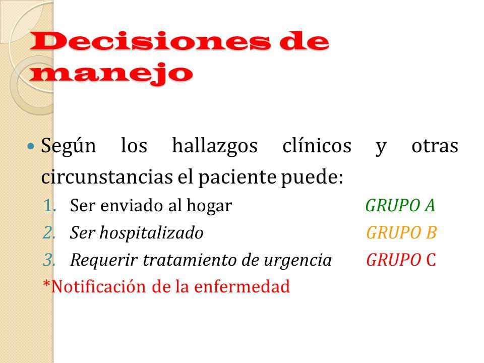 Decisiones de manejo Según los hallazgos clínicos y otras circunstancias el paciente puede: