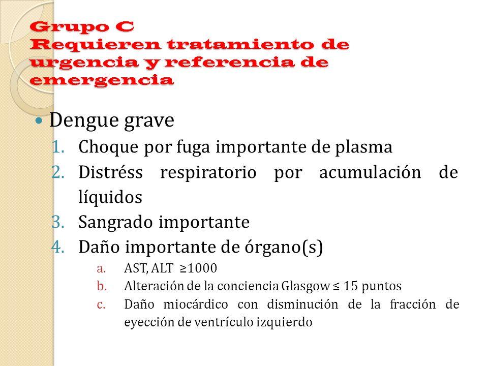 Grupo C Requieren tratamiento de urgencia y referencia de emergencia