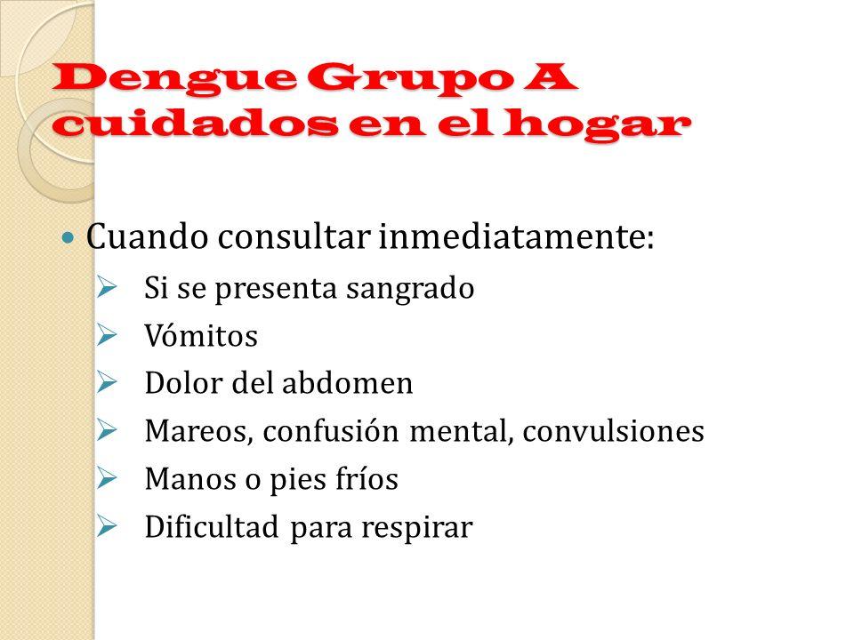 Dengue Grupo A cuidados en el hogar