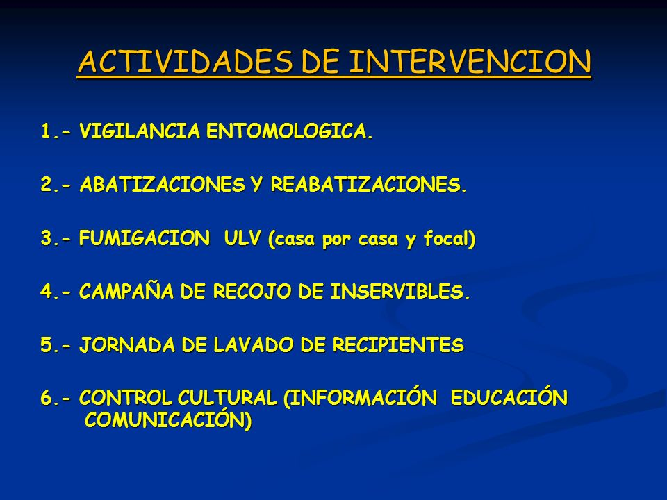 ACTIVIDADES DE INTERVENCION