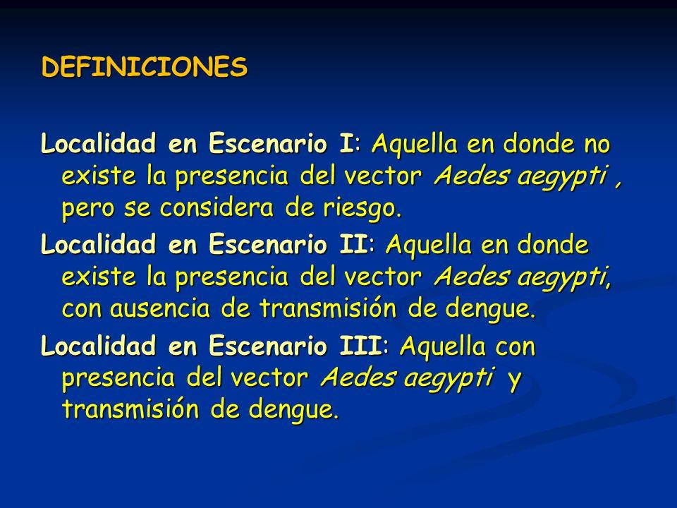 DEFINICIONES Localidad en Escenario I: Aquella en donde no existe la presencia del vector Aedes aegypti , pero se considera de riesgo.