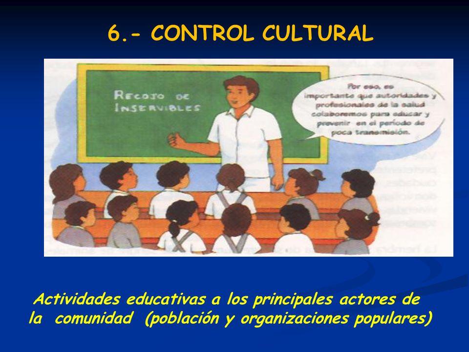6.- CONTROL CULTURAL Actividades educativas a los principales actores de.