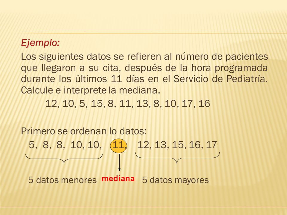 Primero se ordenan lo datos: 5, 8, 8, 10, 10, 11, 12, 13, 15, 16, 17