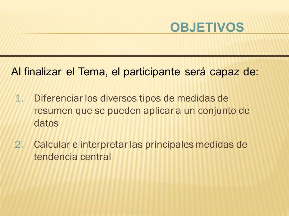 OBJETIVOS Al finalizar el Tema, el participante será capaz de: