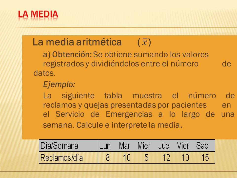 La media aritmética ( ) La Media