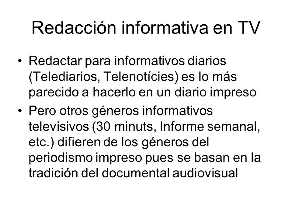 Redacción informativa en TV