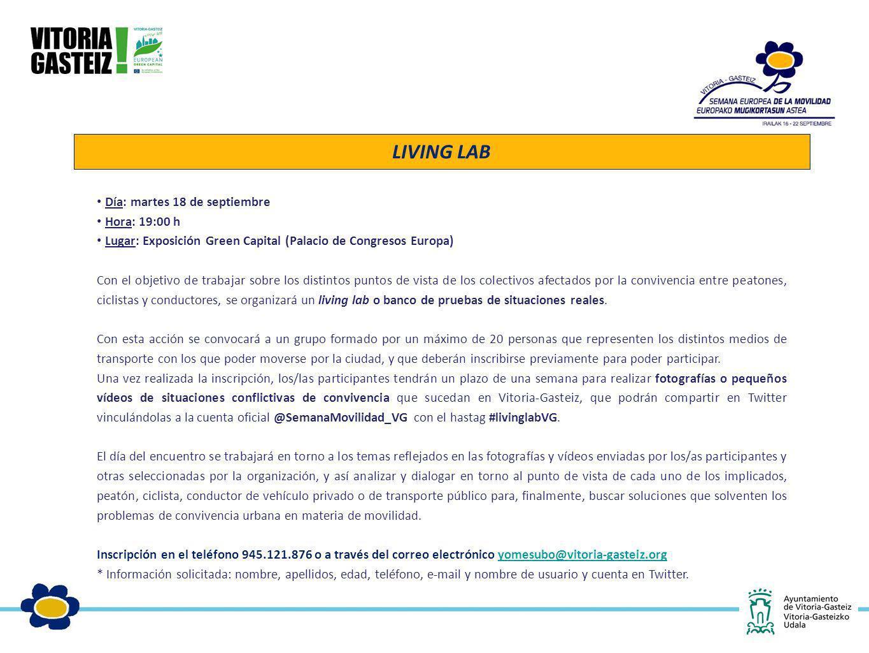 LIVING LAB Día: martes 18 de septiembre Hora: 19:00 h