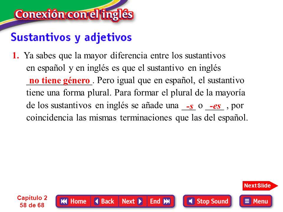 1. Ya sabes que la mayor diferencia entre los sustantivos en español y en inglés es que el sustantivo en inglés ______________. Pero igual que en español, el sustantivo tiene una forma plural. Para formar el plural de la mayoría de los sustantivos en inglés se añade una ___ o ____ , por coincidencia las mismas terminaciones que las del español.