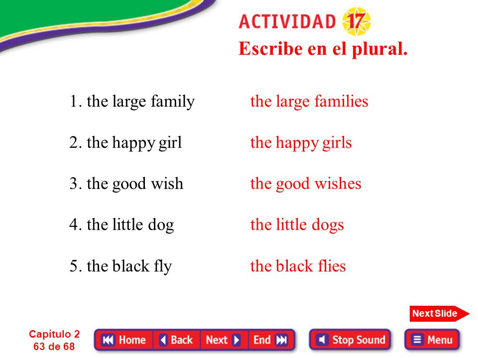 Escribe en el plural. 1. the large family 2. the happy girl