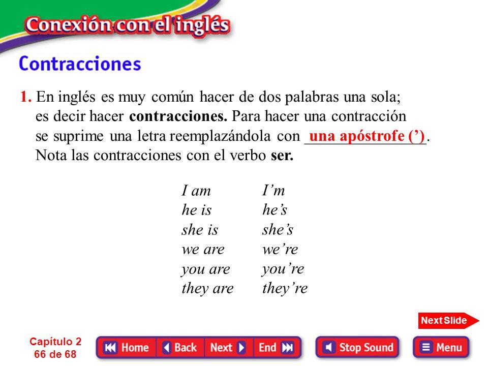 1. En inglés es muy común hacer de dos palabras una sola; es decir hacer contracciones. Para hacer una contracción se suprime una letra reemplazándola con _______________. Nota las contracciones con el verbo ser.