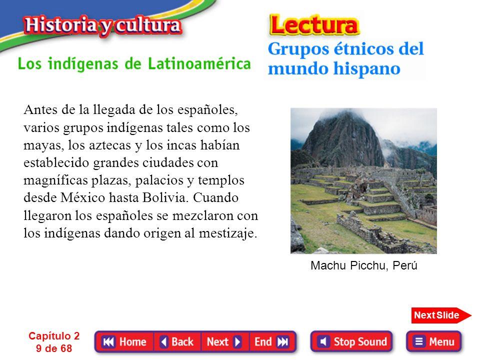 Antes de la llegada de los españoles, varios grupos indígenas tales como los mayas, los aztecas y los incas habían establecido grandes ciudades con magníficas plazas, palacios y templos desde México hasta Bolivia. Cuando llegaron los españoles se mezclaron con los indígenas dando origen al mestizaje.