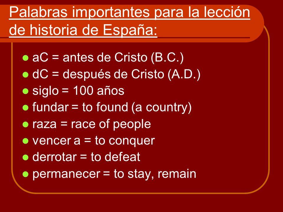 Palabras importantes para la lección de historia de España: