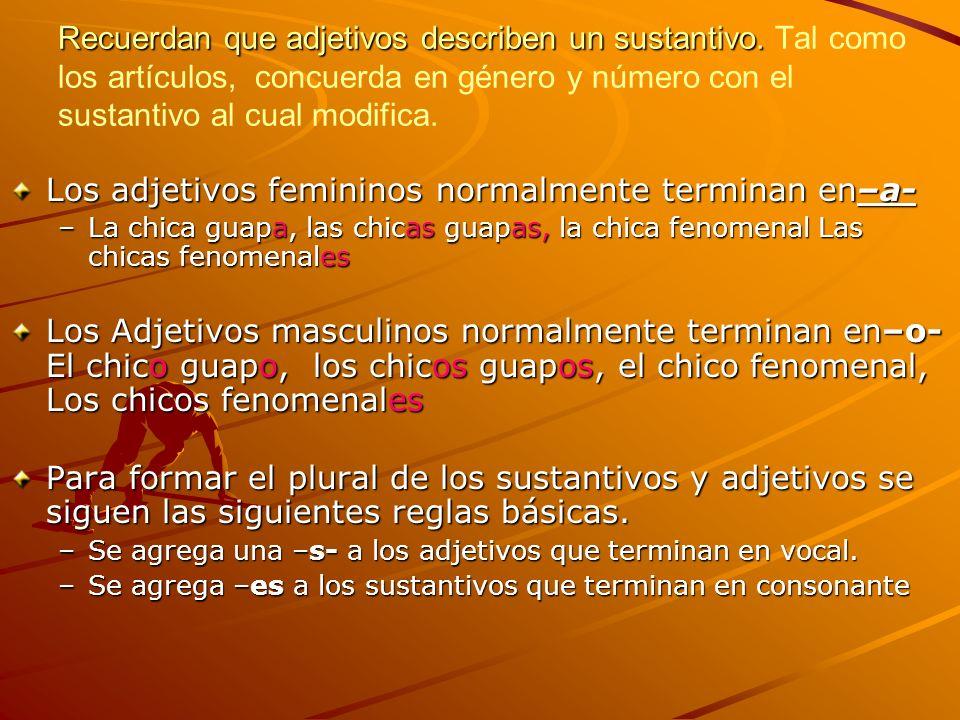 Los adjetivos femininos normalmente terminan en–a-