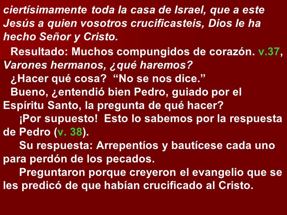 ciertísimamente toda la casa de Israel, que a este Jesús a quien vosotros crucificasteis, Dios le ha hecho Señor y Cristo.