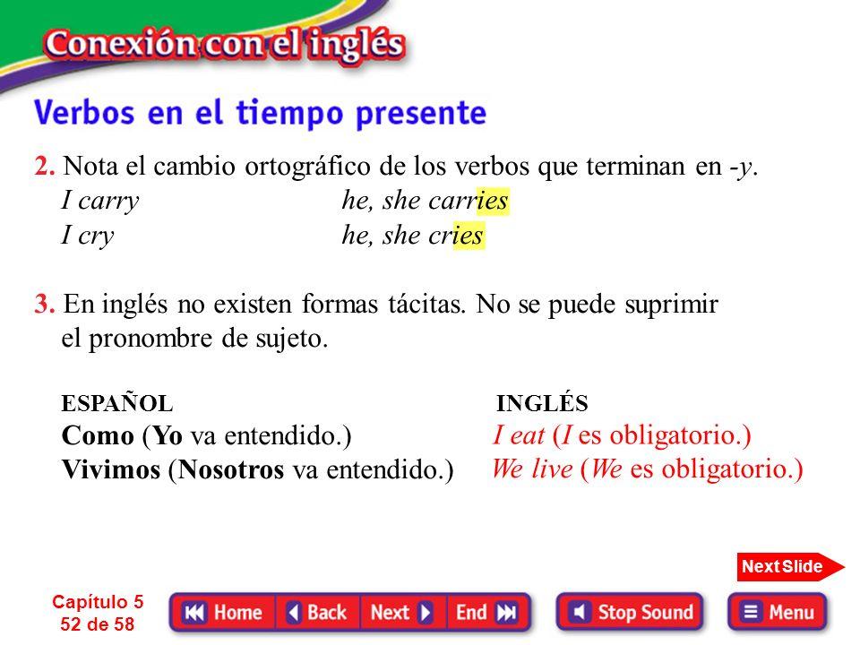2. Nota el cambio ortográfico de los verbos que terminan en -y.