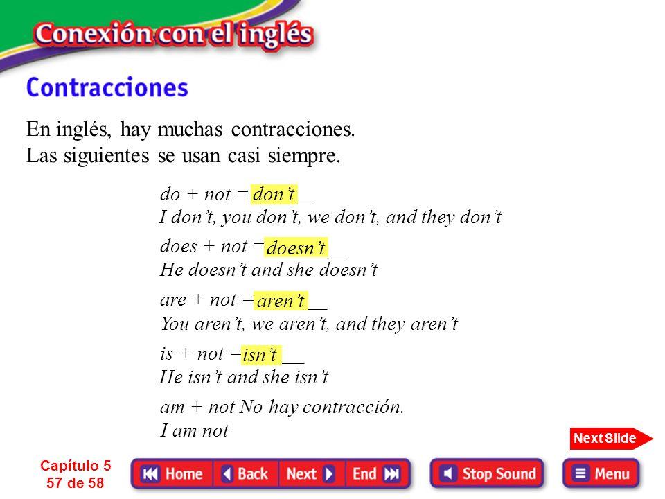 En inglés, hay muchas contracciones