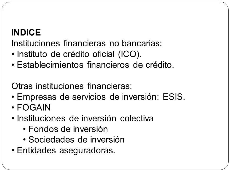 INDICE Instituciones financieras no bancarias: Instituto de crédito oficial (ICO). Establecimientos financieros de crédito.