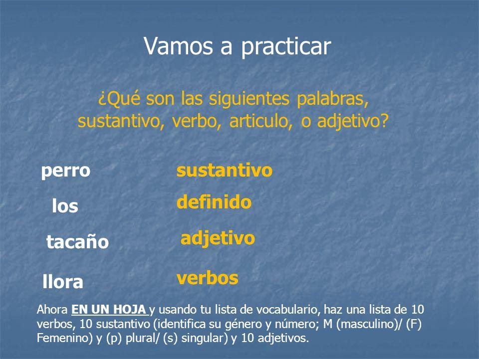 Vamos a practicar ¿Qué son las siguientes palabras, sustantivo, verbo, articulo, o adjetivo perro.