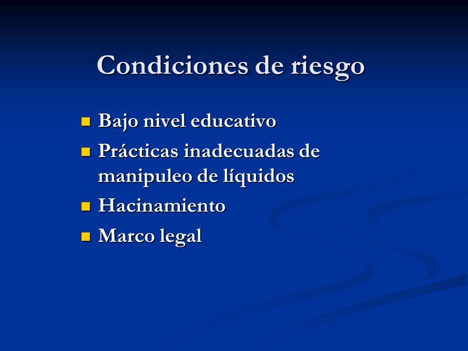 Condiciones de riesgo Bajo nivel educativo