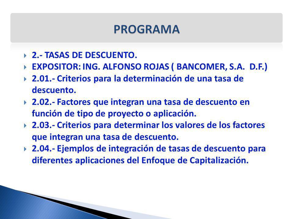 PROGRAMA 2.- TASAS DE DESCUENTO.