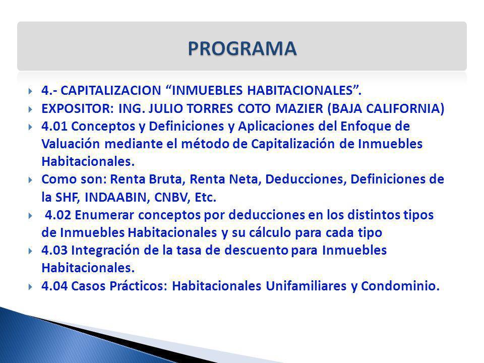 PROGRAMA 4.- CAPITALIZACION INMUEBLES HABITACIONALES .