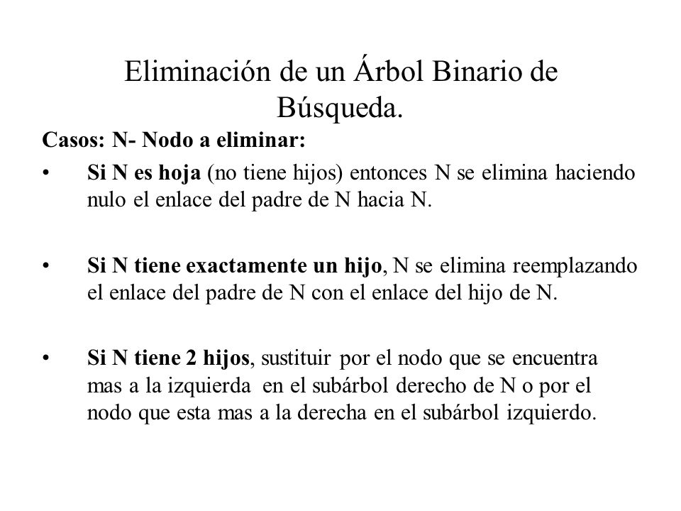 Eliminación de un Árbol Binario de Búsqueda.
