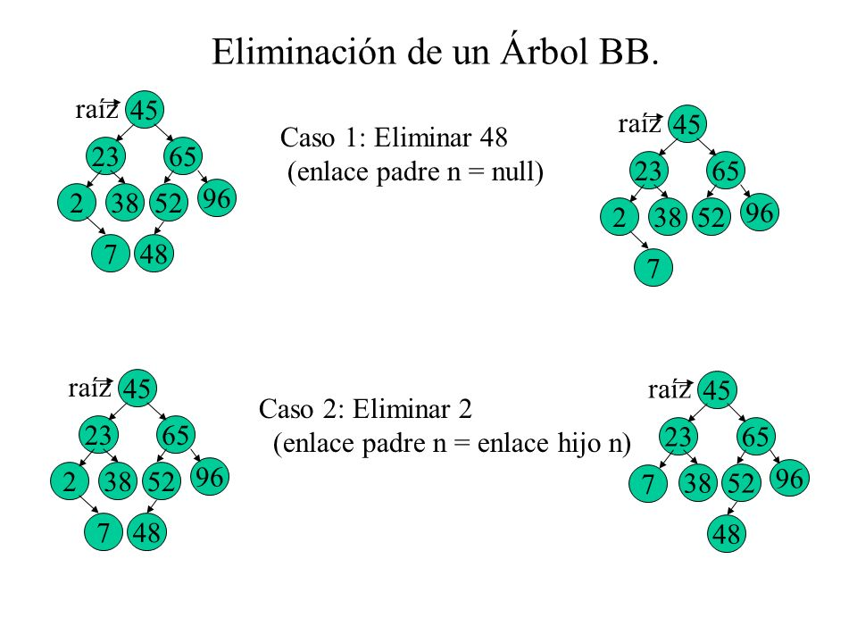 Eliminación de un Árbol BB.