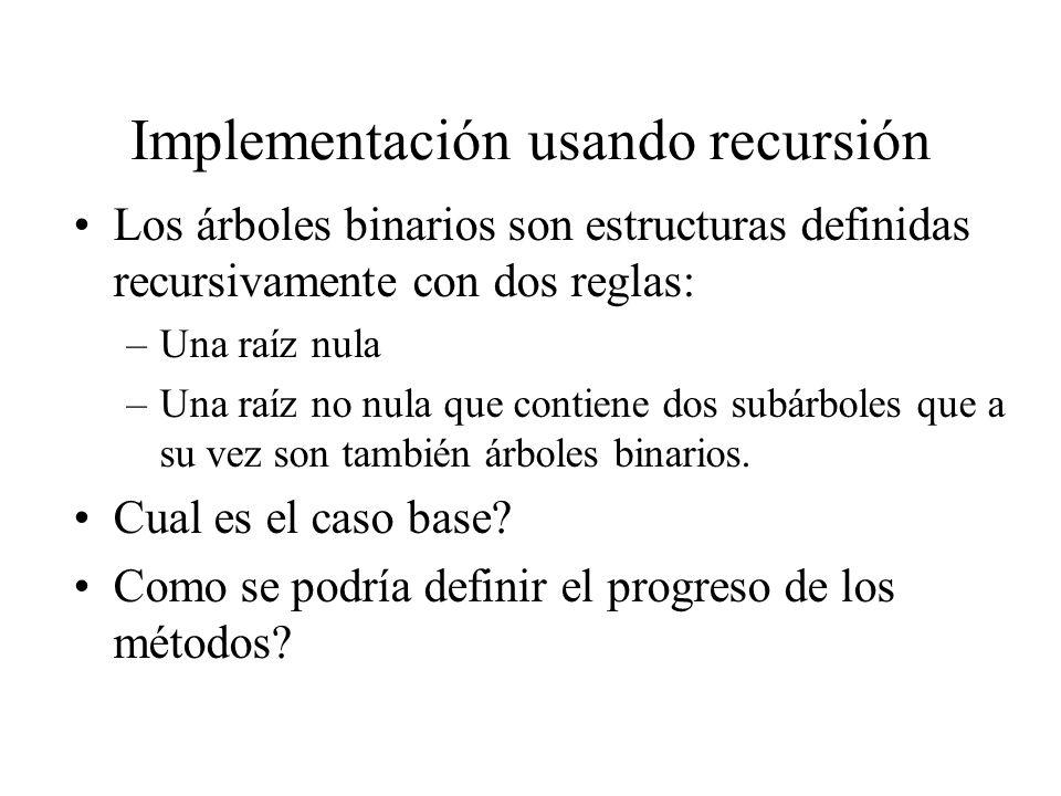Implementación usando recursión