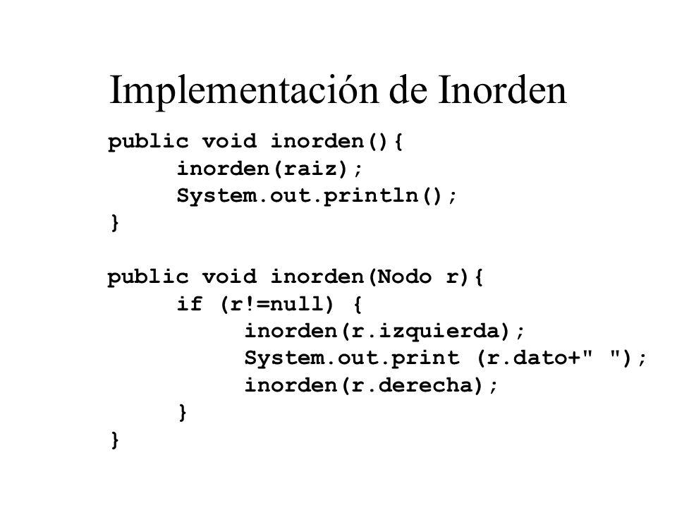Implementación de Inorden