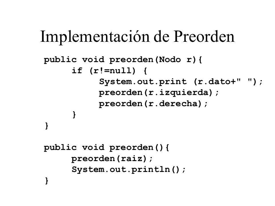 Implementación de Preorden