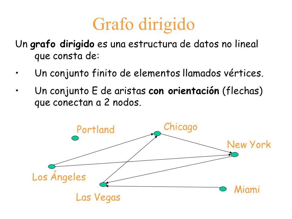 Grafo dirigido Un grafo dirigido es una estructura de datos no lineal que consta de: Un conjunto finito de elementos llamados vértices.