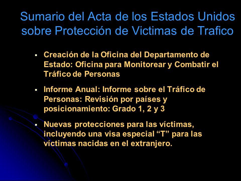 Sumario del Acta de los Estados Unidos sobre Protección de Victimas de Trafico
