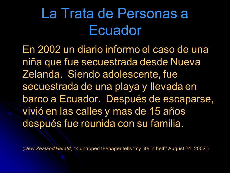 La Trata de Personas a Ecuador