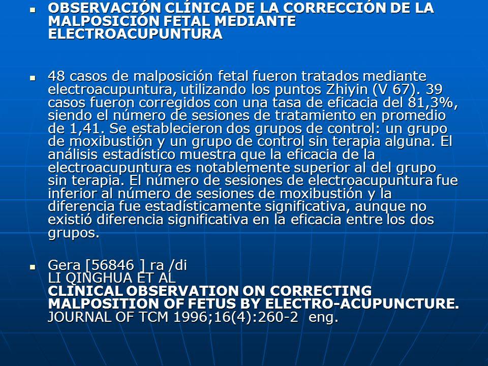 OBSERVACIÓN CLÍNICA DE LA CORRECCIÓN DE LA MALPOSICIÓN FETAL MEDIANTE ELECTROACUPUNTURA