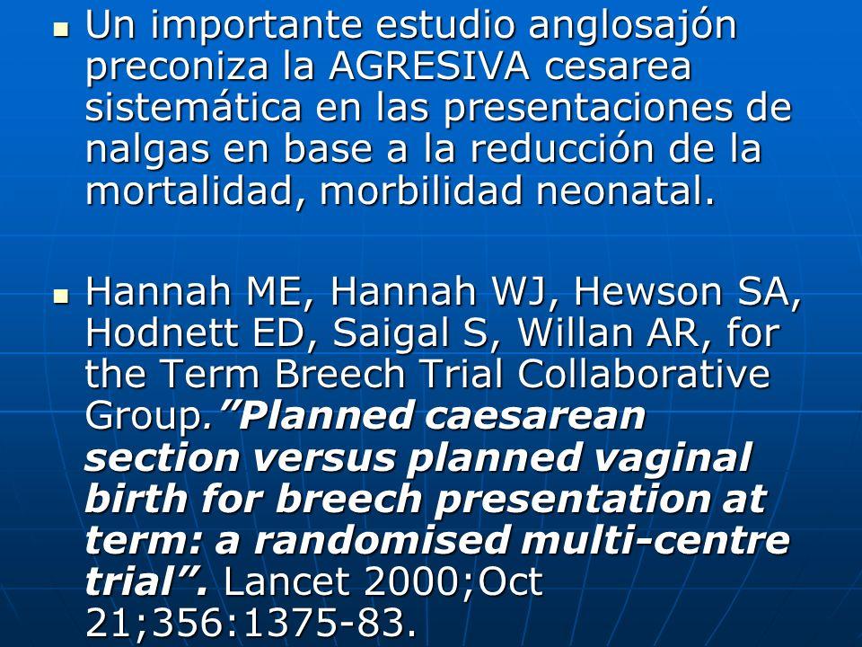 Un importante estudio anglosajón preconiza la AGRESIVA cesarea sistemática en las presentaciones de nalgas en base a la reducción de la mortalidad, morbilidad neonatal.