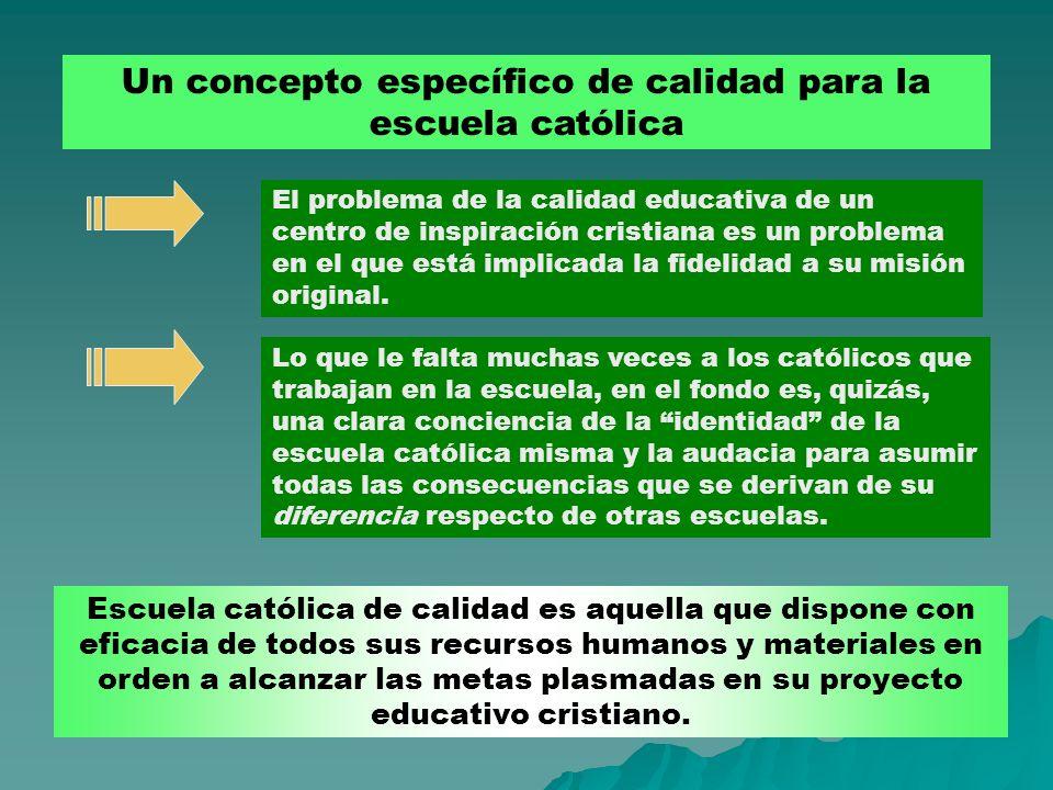 Un concepto específico de calidad para la escuela católica