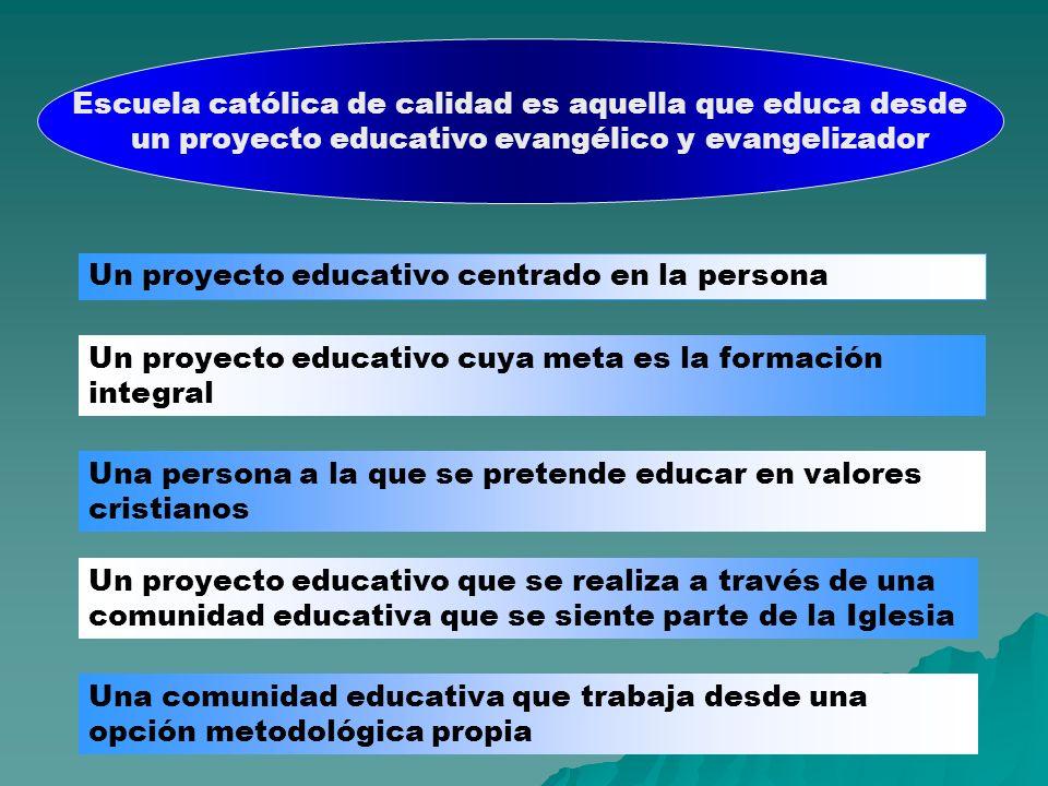 Escuela católica de calidad es aquella que educa desde