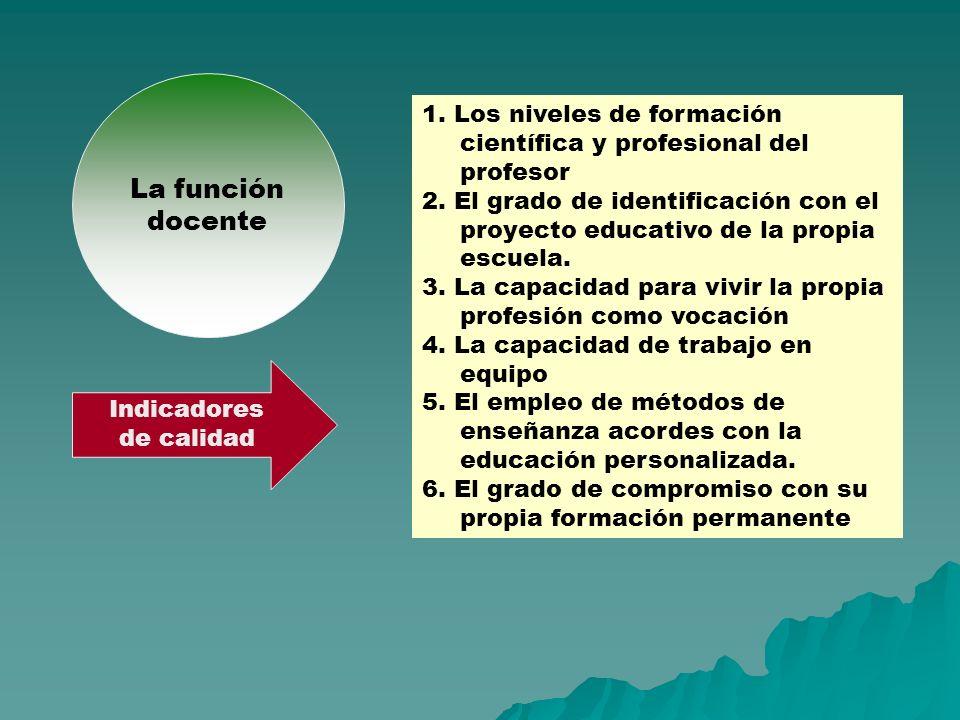 La función docente. 1. Los niveles de formación científica y profesional del profesor.