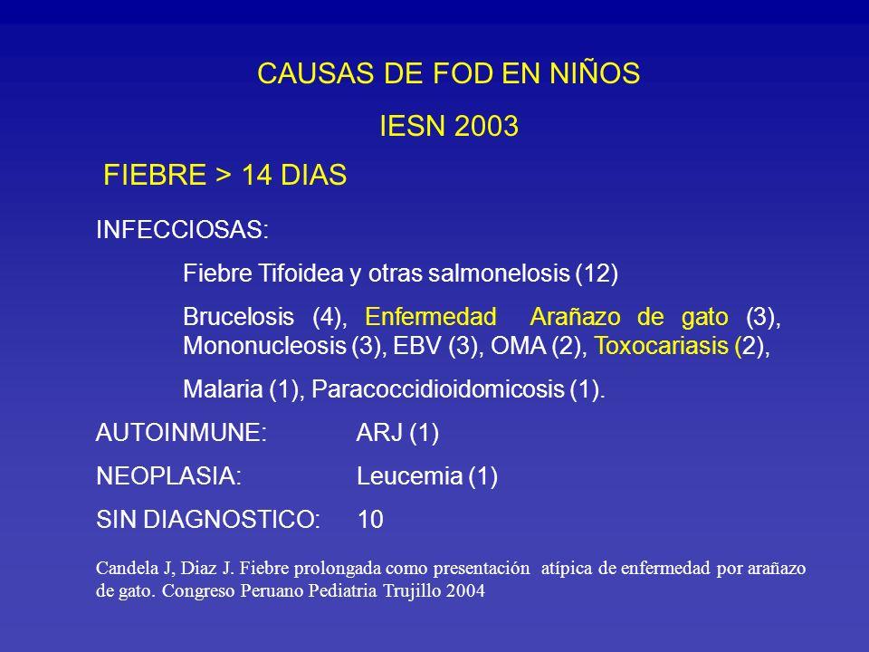 CAUSAS DE FOD EN NIÑOS IESN 2003 FIEBRE > 14 DIAS INFECCIOSAS: