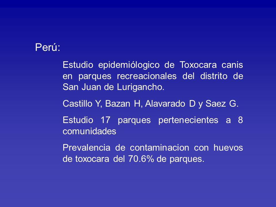 Perú: Estudio epidemiólogico de Toxocara canis en parques recreacionales del distrito de San Juan de Lurigancho.
