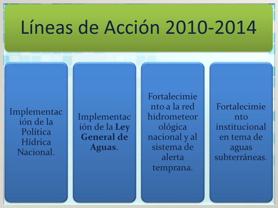 Líneas de Acción 2010-2014 Implementación de la Política Hídrica Nacional. Implementación de la Ley General de Aguas.