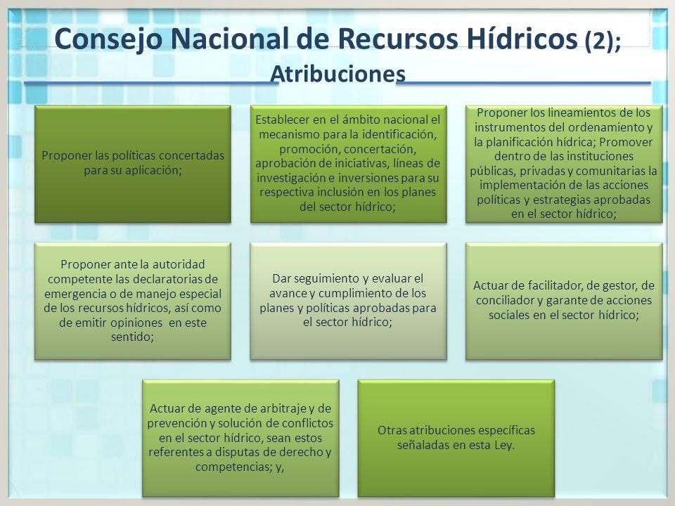 Consejo Nacional de Recursos Hídricos (2); Atribuciones
