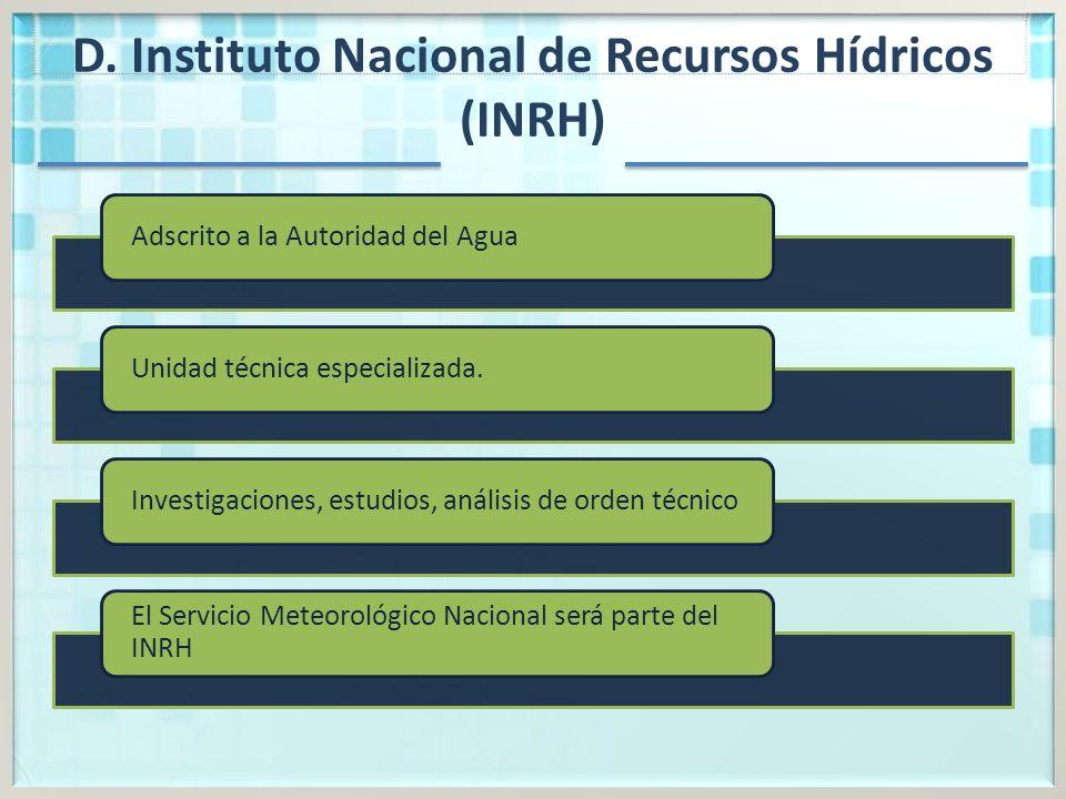 D. Instituto Nacional de Recursos Hídricos (INRH)