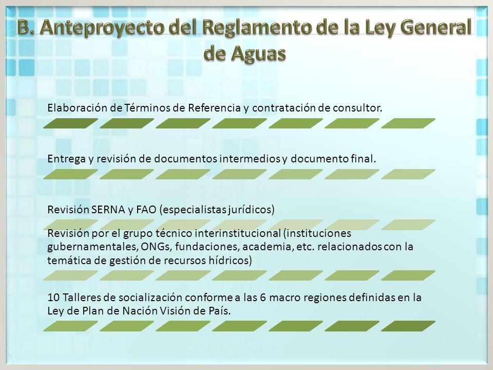 B. Anteproyecto del Reglamento de la Ley General de Aguas