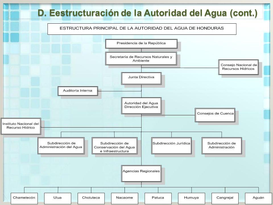 D. Eestructuración de la Autoridad del Agua (cont.)