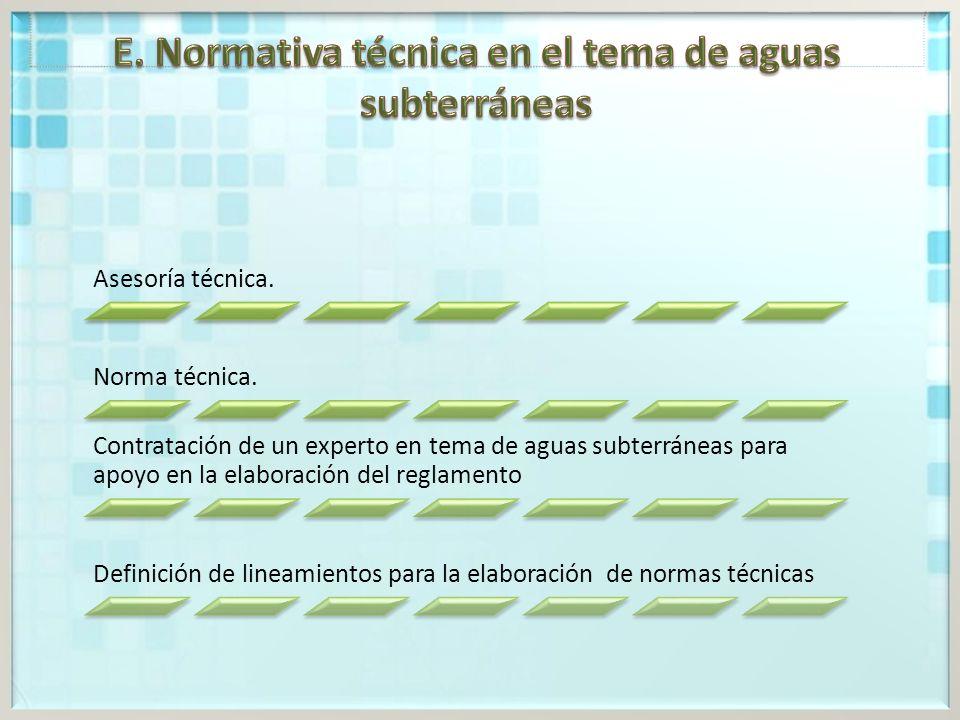 E. Normativa técnica en el tema de aguas subterráneas