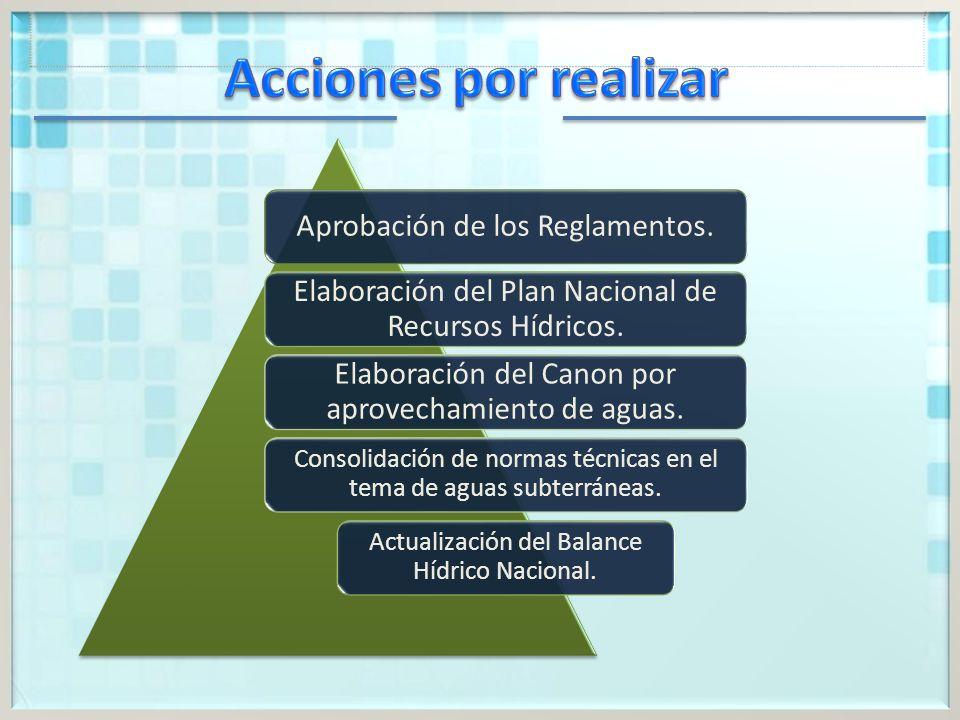 Acciones por realizar Aprobación de los Reglamentos. Elaboración del Plan Nacional de Recursos Hídricos.