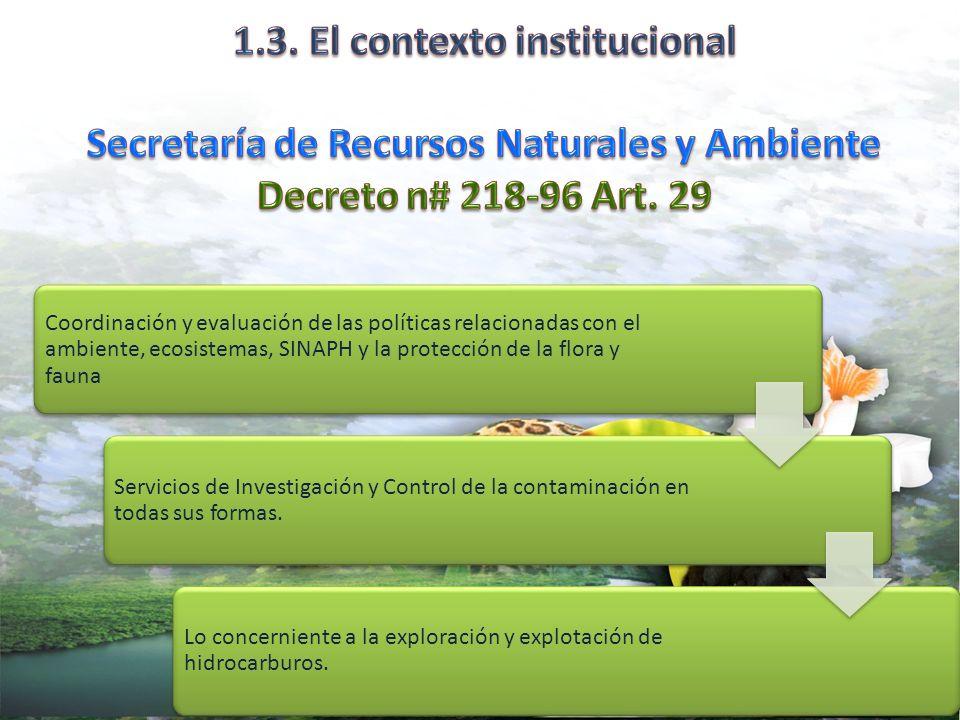 1.3. El contexto institucional Secretaría de Recursos Naturales y Ambiente Decreto n# 218-96 Art. 29