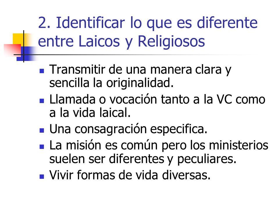 2. Identificar lo que es diferente entre Laicos y Religiosos